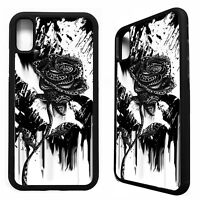 Black rose flower floral gothic pretty tattoo case cover for iphone X XS Max XR