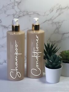 Personalised nude/beige bottle with White/gold   pump 500ml