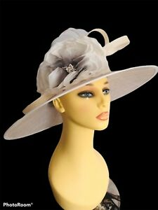 Ladies Ivory & White Wide Brim Wedding Hat Jacques Vert. Church Formal Event MOB