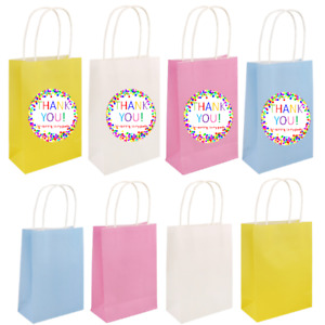 Paper Party Bags w/handles, 4 colours, Thank You labels optional, Kids Birthday