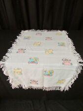 Baby Blanket Cross stitched Pastel Animals Fringed Blanket Lion Monkey Elephant