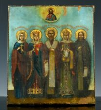 VERY FINE ANTIQUE RUSSIAN ORTHODOX SAINTS FIGURAL PAINTED WOOD ICON PAINTING