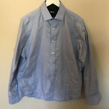Massimo Castello Mens Long Sleeve Casual Shirt Blue Large Slim Fit Preowned