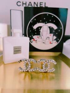 Auth CHANEL Rhinestone CC Logo Clip On Earrings Silver Used from Japan F/S