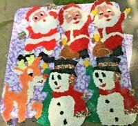 Lot of 6 VTG Melted Plastic Popcorn Christmas Decoration Santa Frosty Rudolph
