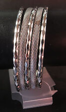 NWT Silver Five Bangle Bracelet, Patterned and Textured Bands, With Tags