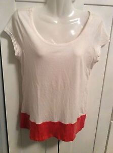 Gap Women's Blouse Small Ivory Orange Embellished sequin Rayon Scoop Neck Top