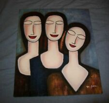 3 SISTERS SMILE FACE SMILING THREE KARDASHIANS OIL PAINTING RETRO MID MODERN VTG