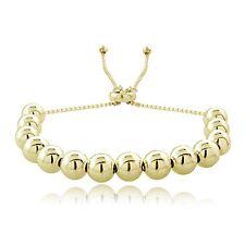 18K Gold over .925 Sterling Silver Polished Adjustable Bracelet