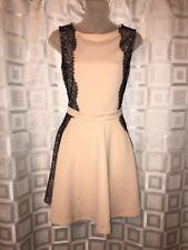 ASOS Womens Sleeveless Scuba Dress Zipper Nude With Black Lace Size 10