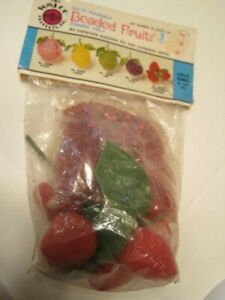 Vtg Walco Beaded Fruit Kit Strawberry NEW IN PKG! Old Stock SEALED Pin Sequin