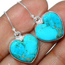 Heart - Blue Mohave Turquoise, Arizona 925 Silver Earring Jewelry AE163843