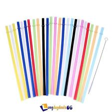25Pcs Colorful Reusable Drinking Thicken Straws W/ Brush Fr Tumbler Hard Plastic