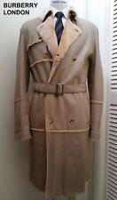 BURBERRY London fur leather jacket tan beige trench coat long overcoat 50 40 M