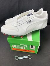 Vintage Puma Rocket Plus Shoes Size 9.5 White Gray Deadstock Cleats Football