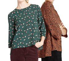 Womens M&S Collection Debranded Vibrant Print Dip Hem 3/4 Sleeve Blouse 12-24