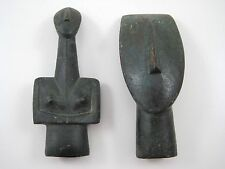 Two Collectible Cycladic Idols From The Greek Islands Metal Reproductions