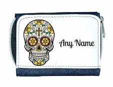 Personalised Denim Purse With Gothic Sugar/Candy Skull/Flower/Cross