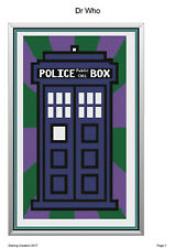 Crochet Patterns- Dr who Tardis Blanket-199x 328 stitches-