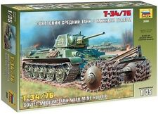 q Zvezda 3580 - T-34/76 Soviet Medium Tank with Mine Roller   (Scala 1/35)