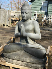 4ft Large Sculpted lava Stone japanese garden carved BUDDHA GARDEN STATUE