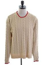 TOMMY HILFIGER Mens Crew Neck Jumper Sweater XL Beige Cotton