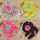 Kids Infant Baby Girls Sunflower Long Sleeve T-shirt Clothes+Pants Outfit Set US