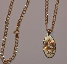 """NEW 10KT LARGE VIRGIN MOTHER MARY PENDANT MEDALLION W CURB LINK  20"""" 10KT CHAIN"""