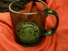 Starbucks green glass mug cup 12 oz white mermaid logo