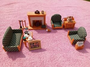 CALICO CRITTERS Sylvanian Deluxe Living Room Big Lot Set Fireplace Accessories