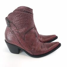 Vintage Red Croc Leather Cowboy Ankle Zip Up Boots Festival Women's UK2-2.5 EU35