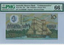 "1988 AUSTRALIA $10 ""COMMEMORATIVE"" PMG66 EPQ GEM UNC【P-49a】""First Prefix AA"""