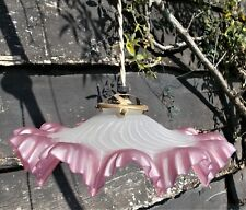 ANTIQUE FRENCH OPALINE Ceiling Light Shade, Pink Cranberry White Ruffled Glass