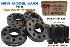 4 Pc 30mm 66.6 I.D Black Hub Centric Wheel Spacer Kit + Bolts Fits Audi 5x112
