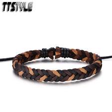 Stylish TTStyle Brown/Black Soft Twisted Leather Bracelet Wristband NEW