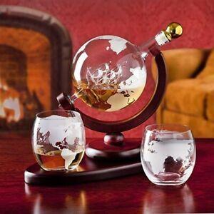 Galleon Whiskey Decanter Globe Set, by Godinger Glass Ship Sculpture Brand NEW