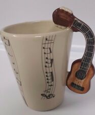 Guitar Handle 8 OZ Coffee Cup Mug 3-D Musical Notes Instrument Band BlueWitch