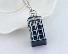 Silver and Blue Tardis Pendant. Dr Who Necklace Charm Police Box Time FREE POST
