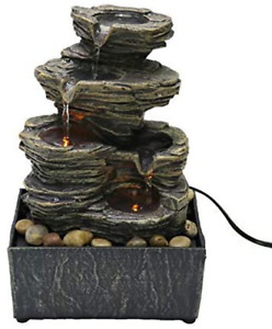 Tabletop Water Fountain Desk Cascading 4 Tier With Natural River Rocks LED Light