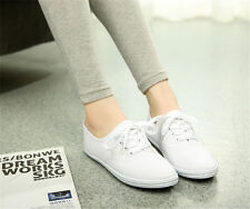 Classic Womens Canvas Casual Sneakers Tennis Flats Ladies Plimsoll Shoes Lace Up