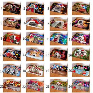 Christmas Doormat Soft Anti-Slip Flannel Area Rug Animal Kitchen Bedroom Welcome