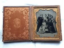 1/2 Plate TINTYPE Photo RARE FULL CASE Seaside Family BEACH SCENE Boat c 1880