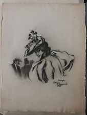 Dessin Original LUBIN DE BEAUVAIS XIXe Scène Rue Elegante Art Nouveau LB27
