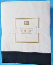 Pottery Barn Teen Suite Organic Full Sheet Set Navy Blue New