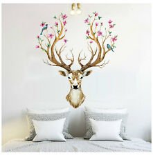 Deer Birds Flowers Tree Removable Wall Sticker Vinyl Decals Mural Art Home Decor