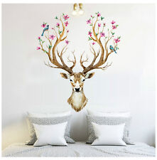 Deer Head Flowers Birds Wall Stickers Vinyl Decal Removable Kids Decor Art Mural