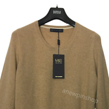 M&S Ladies Jumper Camel Pure Cashmere Button Cuff BNWT Marks Luxury Collection