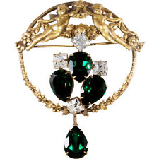 Joseff of Hollywood Victorian Revival Cherub Brooch Pin Green & Clear Rhinestone