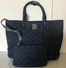 NEW! TOMMY HILFIGER DENIM BLUE EAST WEST SHOPPER TOTE BAG PURSE W/WRISTLET $85