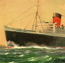 RMS Queen Mary 1982 reproduction of the artist signed Vintage Postcard